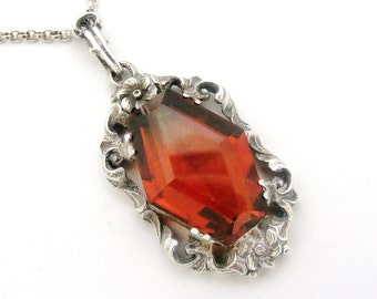 Spectacular Antique German jugendstil 835 silver and amber glass pendant on sterling silver chain