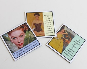 Funny Magnet Set for Better Mental Health Three Sassy Sayings