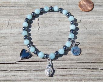 Aquamarine, Hematite, & Charms Wrist Malas!!!