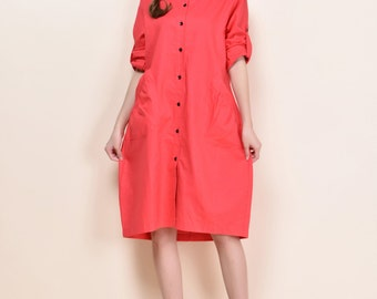 Two dfferent looks Flow Bud Linen Shirt dress with Pleated Pockets/ Any Size/ 26 Colors/ RAMIES