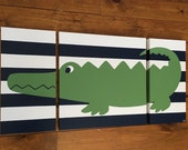 large modern nursery art- personalized triptych painting- name monogram initials- madras alligator - navy blue green