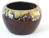Groovy Glazed Brown Pottery: 1970s Pot or Serving Bowl