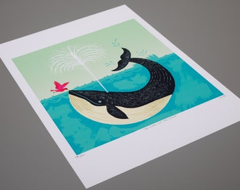 The Bird and The Whale - limited edition - Animal / Wildlife / Nature - art poster print - iOTA iLLUSTRATION