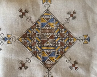 """Embrodiered Linen 36"""" Square Tablecloth"""