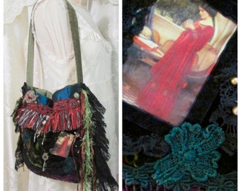 Renaissance Purse, handmade fabric bag, shoulder bag, earth tones bohemian bag lace fringe embellished gypsy bag