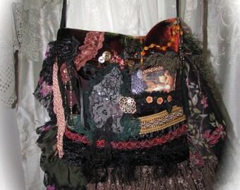 Bohemian Bag fringe bag gypsy bag boho bag shoulder bag, handmade upcycled velvet bag, unique OOAK embellished beads buttons lace