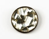 Unique Vintage Molded Glass Rhinestone Button,  18mm, 4-Way Shank, 1pc