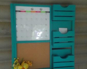 Dry Erase Magnetic Calendar/Message center/Corkboard Center/Message Board/Mail Holder .
