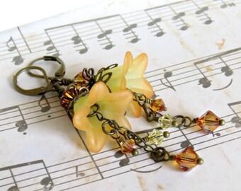 Sunset Lucite Flower Earrings, Vintage Style Earrings, Swarovski Crystal Earrings