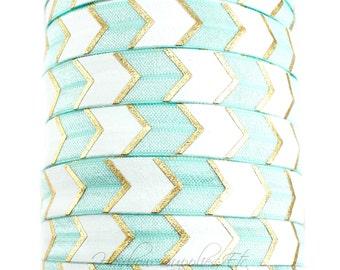 Aqua Gold Arrow Fold Over Elastic - Fold Over Elastic, Hair Elastic Bracelet, Elastic, Hair Elastic Ties, Elastic Ribbon, Elastic Hair Bands
