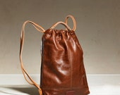 Drawstring Backpack - Brown/Tan