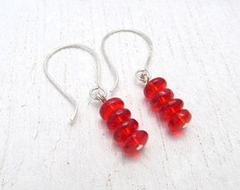 Red Beaded Earrings on Argentium Sterling Silver. Silver Earrings. Red Earrings. Glass Beads. Petite Everyday Earrings. Beaded Jewelry 1818