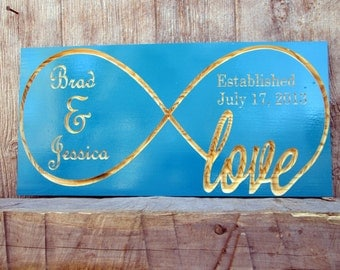 Personalized Infinity Symbol Sign, Custom Established Sign, Wedding Gift, 5th Year Anniversary Gift, Carved Wooden Signs,
