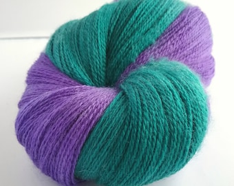 Wimbledon hand dyed extra fine merino and silk laceweight yarn