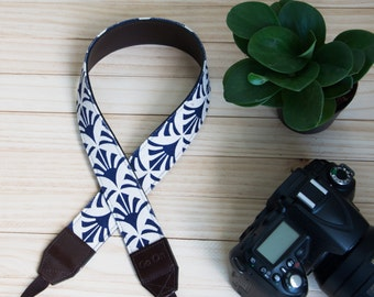 Dark Blue Fan/Japanese Style Camera Strap for DSLR  , Mirror Less ,Compact