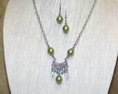 Lime Green and Silver Indie Jewelry Pendant Necklace Earrings Vintage Inspired Boho Chic Bohemian Hippie Victorian Style