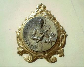 S. Gerardo Maiella - Vintage Travel Shrine - Framed Table Altar - Saint Gerard - St. Gerarde - Devotional - Catholic