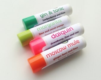 Any 4 cocktail-flavored lip balms - you pick flavors - Gin & Tonic lip balm, Belgian beer lip balm, Moscow Mule flavored lip balm