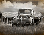 Dodge Truck with flatbed underneath a Cloudy Sky on the Prairie in Wyoming Graphic Effects No.FA11812 A Fine Art Auto Landscape Photograph