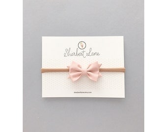 Baby Bow Headband - Mini Standard Bow - Dusty Peach