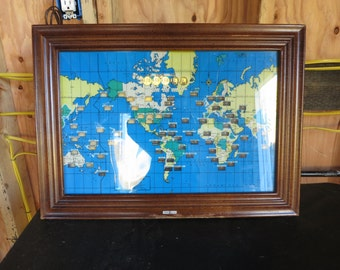 Vintage Howard Miller World Wall Clock, World Time Clock,