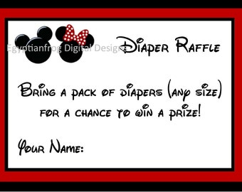 INSTANT DOWNLOAD - Mickey and Minnie Baby Shower Diaper Raffle Tickets - You print as many copies as you need!