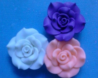 Fancy kawaii clay rose cabochons   3 pcs---USA seller