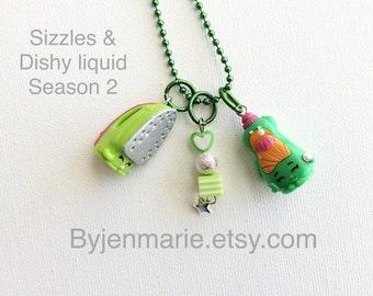 Shopkin Charm Necklace Sizzles and Dishy Liquid Season 2