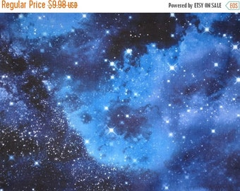 ON SALE Shades of Blue Solar System Print Pure Cotton Fabric--One Yard