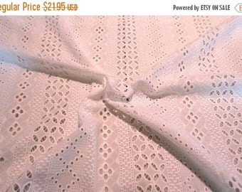 ON SALE White on White Geometric Stripe Embroidered Eyelet Pure Cotton Batiste Fabric--One Yard