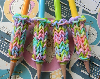 4 Removable Rainbow Loom Pencil Grips with Pastel Pencils - Pastel Green, Yeloow, Blue, and Orange - Mixed Pastel Bands