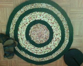 "Crocheted Round Rag Rug ~ 30"" rug ~ Reversible ~ Machine Washable n Dryable ~ New Cotton Fabric Rag Rug ~  Country ~ Primitive Rag Rug"