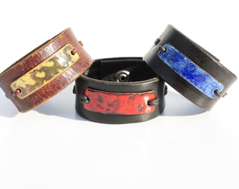 Enamel and leather cuffs, reclaimed leather cuff, torch fired enamel leather bracelet, red cuff, blue cuff, lime green bracelet