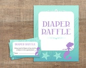Baby Shower Diaper Raffle Tickets & Sign, Mermaid Shower, Baby Girl, Aqua and Purple Printable Invite Insert, INSTANT DOWNLOAD