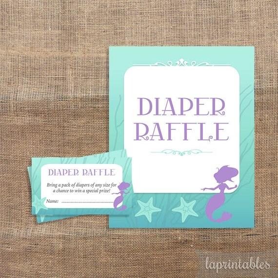 baby shower diaper raffle tickets  u0026 sign mermaid shower baby