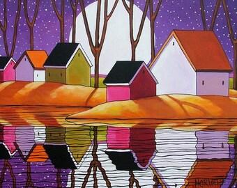 Purple Night Moon, 5x7 Art Print, Modern Folk Art, Evening Harvest Moon, Sky Stars Water Reflection, Landscape Acid Free Artwork by Horvath