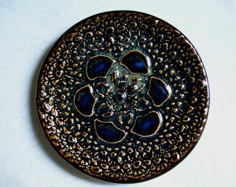 Midnight Ink Pottery Doily Dish or Spoon Rest