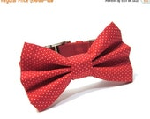 ON SALE Bow Tie Dog Collar, Dog Bowtie- Red Pin Dots