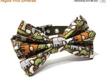 BIG SALE Dog Collar and Bow Tie Set- Zoology in Brown