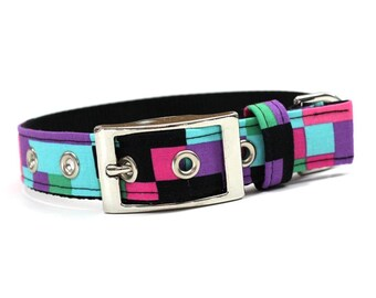 Dog Collar with Metal Buckle- Pink, Purple, Blue, and Black Pixelated