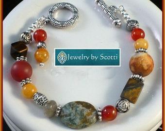 Chunky Multi Color Gemstone Statement Bracelet, Her Stone Bracelet, Her Unique Bracelet, Multicolor Agate Tigereye Carnelian Labradorite