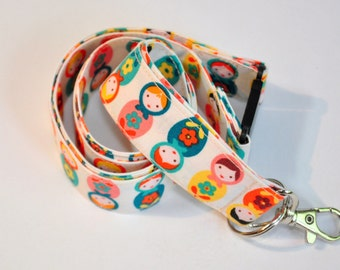 Fabric Lanyard  ID Badge Holder -  Teacher lanyard - Matryoshka doll lanyard - russian nesting doll  - Breakaway safety clasp
