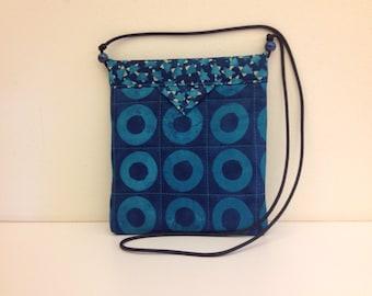 Navy and Teal Geometric Quilted Fabric Handbag Purse Handmade 7-1/2 x 8-1/2