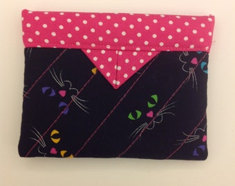 """Cats Eyes Quilted Fabric Mini Snap Bag Purse Organizer 4"""" X 5"""""""