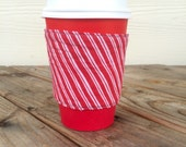 Candy Cane Stripes Coffee Cozy To Go Cup Chevron Reversible Christmas Gift Stocking Stuffer