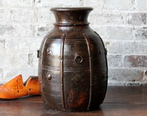 Wood Vase Vintage Reclaimed Indian Brass Fitted Water Pot Boho Decor Rustic Accent Farm Chic Home Decor Turned Wood Vase