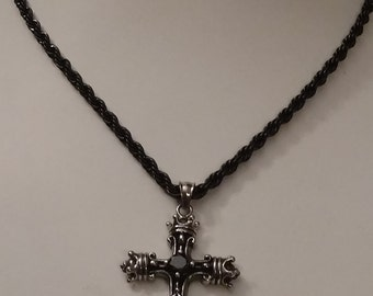 Stainless Cross Necklace, Black and Silver, Gentleman's, Crown End Points, Christianity, Cross Pendant