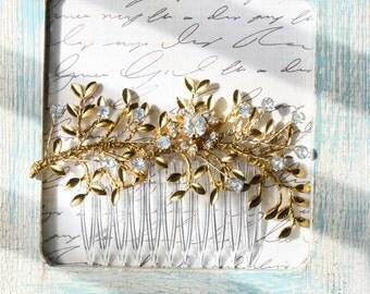 Gold Leaf Hair Comb. Bridal Hair Comb, Leaf Headpiece, Wedding Hair Accessory, Woodland Hair Accessory, Gold Brass Leaf Branch Hair Comb