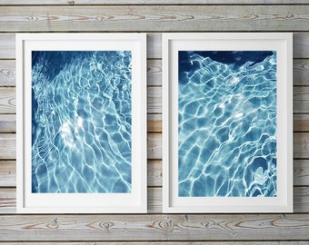 Set of 2, Fine Art, Water, Light, Rectangular or Square, Abstract Photos, Wall Decor, Beach Art, Coastal Decor, Blue and White Art Prints