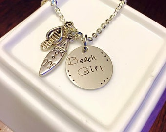 Beach Girl Hand Stamped Necklace
